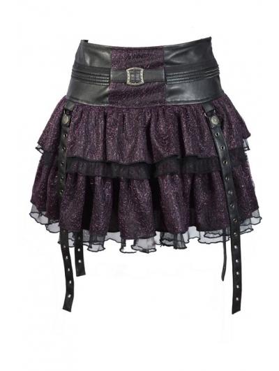 Purple Layers Short Mini Gothic Skirt