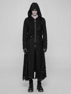 Black Gothic Diablo Long Hooded Coat for Men