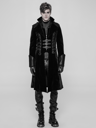 Black Velvet Gothic Punk Thick Coat for Men