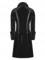 Black Velvet Gothic Punk Thick Coat for Men