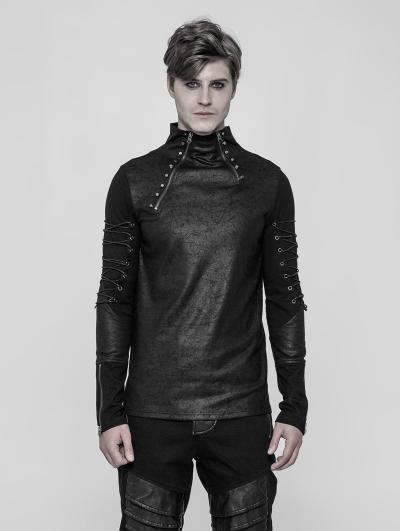 Black Gothic Punk Daily Long Sleeve T-Shirt for Men