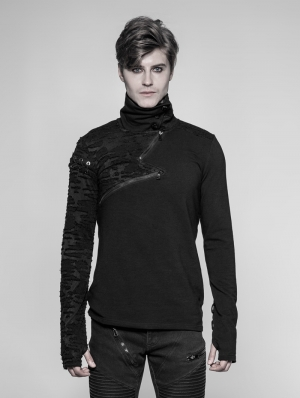 Black Gothic Punk Daily Pullover S Zipper Sweater for Men