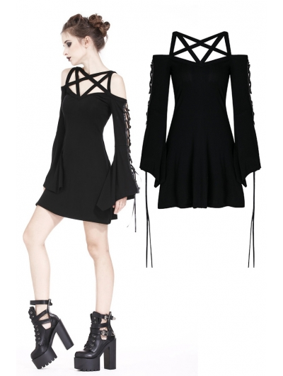 Black Gothic Punk Star Harness Short dress