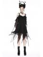 Black Gothic Chiffon Flounces Off-the-Shoulder dress