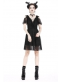Black Gothic Off-the-Shoulder Daily Lace Short Dress