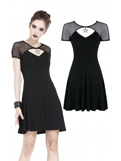 Black Gothic Punk Star Knitted Short Dress