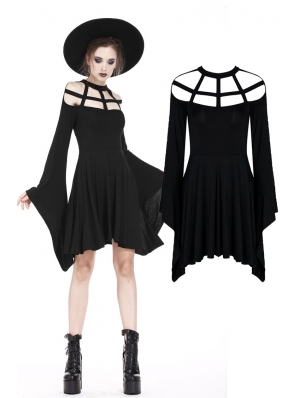 Black Gothic Punk Spider Web Short Dress