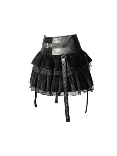 Black Velvet Lace-up Gothic Short Skirt