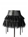 Black Velvet Lace-up Gothic Short Skirt