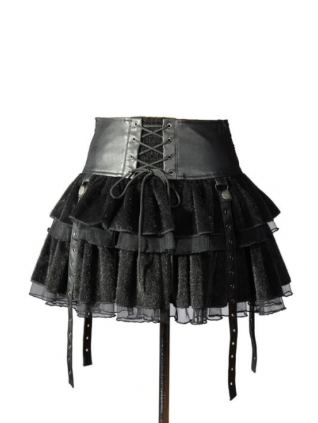 Black Velvet Lace-up Gothic Short Skirt - Devilnight.co.uk