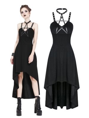 Black Gothic Punk Star High-Low Dress