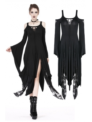 Black Romantic Gothic Irregular Long Dress