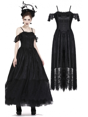 Black Gothic Gorgeous Off-the-Shoulder Lace Long Dress