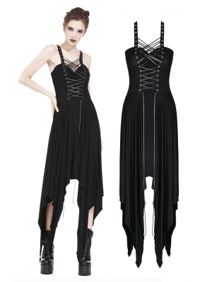 Black Gothic Punk Irregular Dress