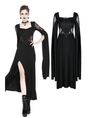 Black Gothic Long Dress with Star Hollow Out