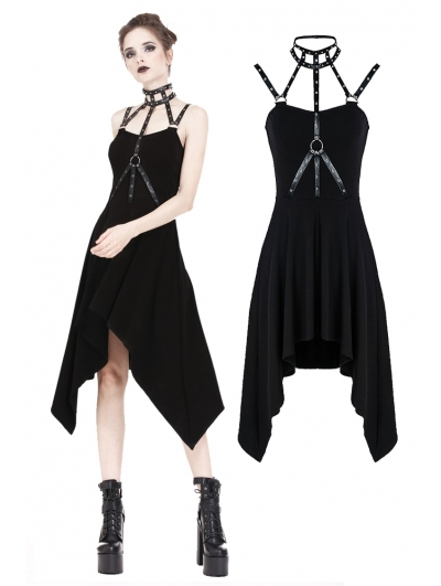 Black Gothic Punk Rivet Irregular Harness Dress