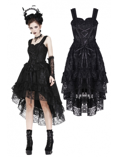 Black Gothic Lolita Lace High-Low Cocktail Dress