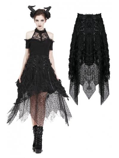 Black Gothic Flower and Mesh Irregular Skirt