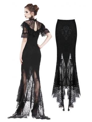 Black Gothic Lace Fishtail Skirt