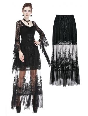 Black Gothic Lace Flower Long Skirt