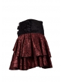 Red Rose Printed Pattern Gothic Short Skirt