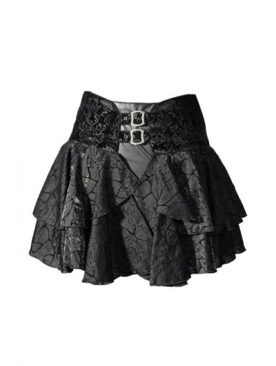 Black Rose Printed Pattern Gothic Short Skirt