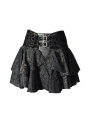 Black Rose Printed Pattern Gothic Short Skirt