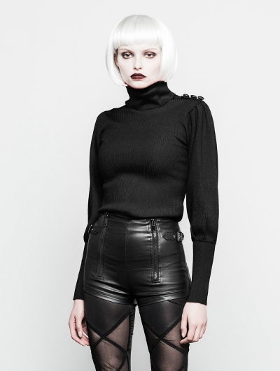 Black Gothic High Collar Court Sweater for Women