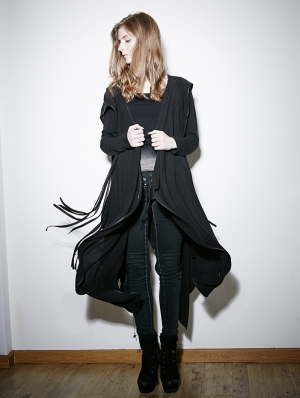 Black Irregular Gothic Hooded Trench Coat for Women