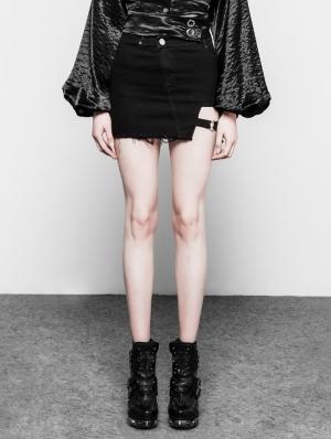 Black Gothic Punk Dark Heart Shape Short Denim Skirt for Women