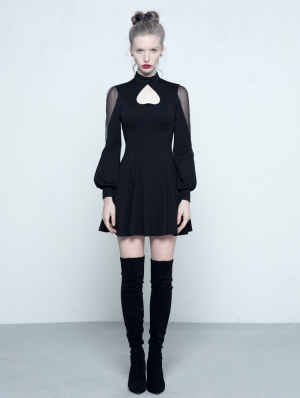 Black Gothic Long Sleeves Heart Shape Short Dress