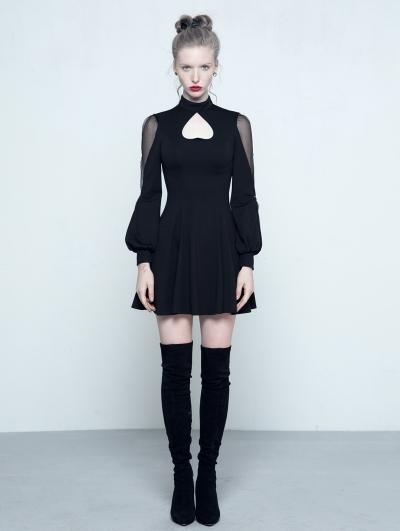 Black Gothic Long Sleeves Heart Shape Short Dress