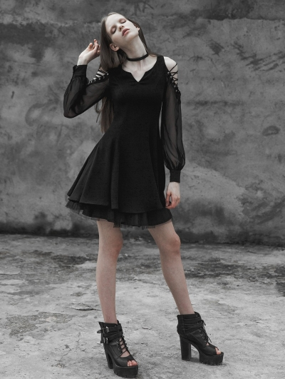 Black Gothic Strapless Corn Bandage V-collar Dress
