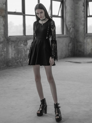 Black Gothic Lace Sleeves Hollow-out Fake Braces Dress
