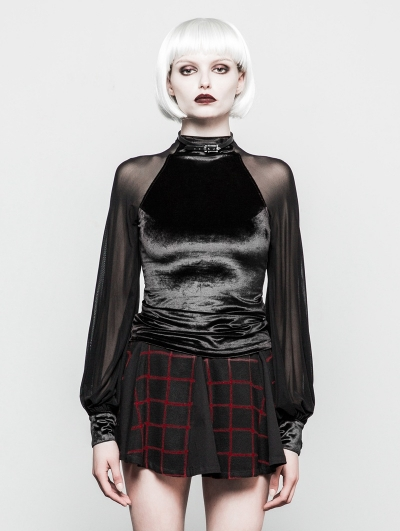 Black Gothic Velvet Mesh T-Shirt for Women
