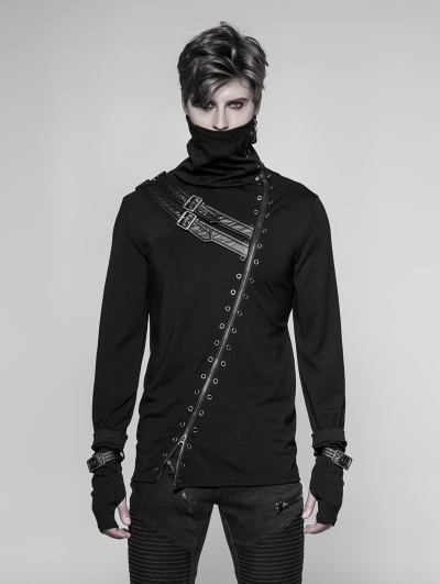 Black Gothic Punk Long Zipper Turtleneck T-Shirt for Men
