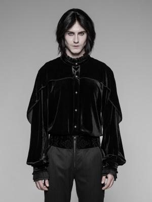 Black Retro Palace Gothic Velvet Shirt for Men