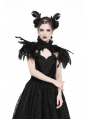 Black Gothic Feather Velvet Two Wear Cape