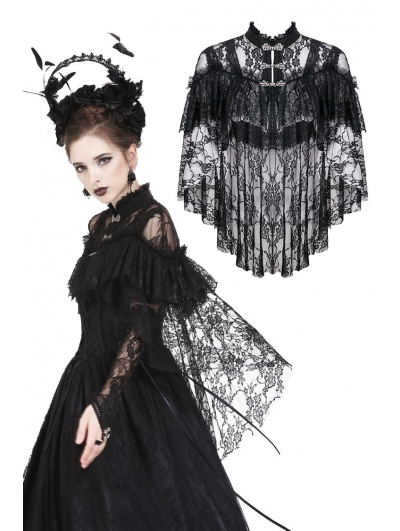 Black Gothic Lace High-Low Cape