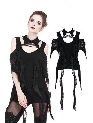 Black Gothic Punk Off-the-Shoulder T-Shirt for Women