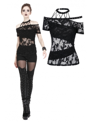 Black Gothic Punk Messy Net T-Shirt for Women