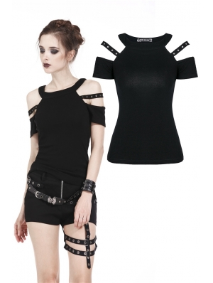 Black Gothic Punk Short Sleeves T-Shirt for Women
