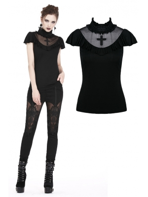 Black Gothic Cross Short Sleeves T-Shirt for Women