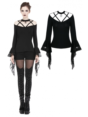 Black Romantic Gothic Star T-Shirt for Women