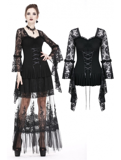 Black Romantic Long Sleeves Gothic Lace T-Shirt for Women