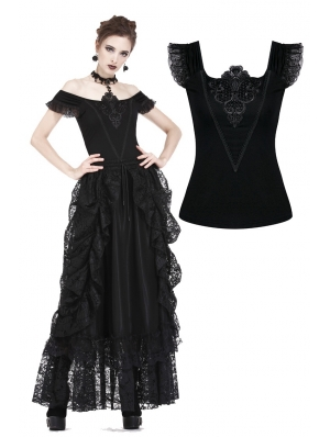 Black Gothic Lace Applique Shirt for Women