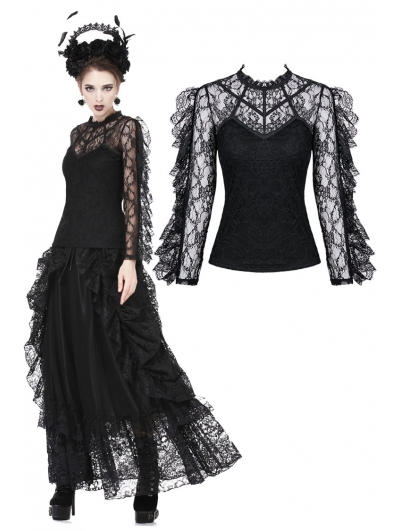 Black Gothic Flouncing Long Sleeves T-Shirt for Women