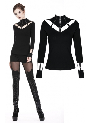 Black Gothic Punk Long Sleeves T-Shirt for Women