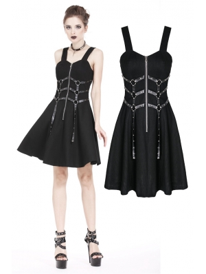 Black Gothic Punk Leather Belt Dress