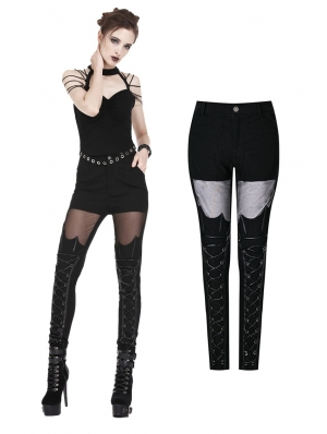 Black Gothic Punk Bat Pattern Legging Pants for Women